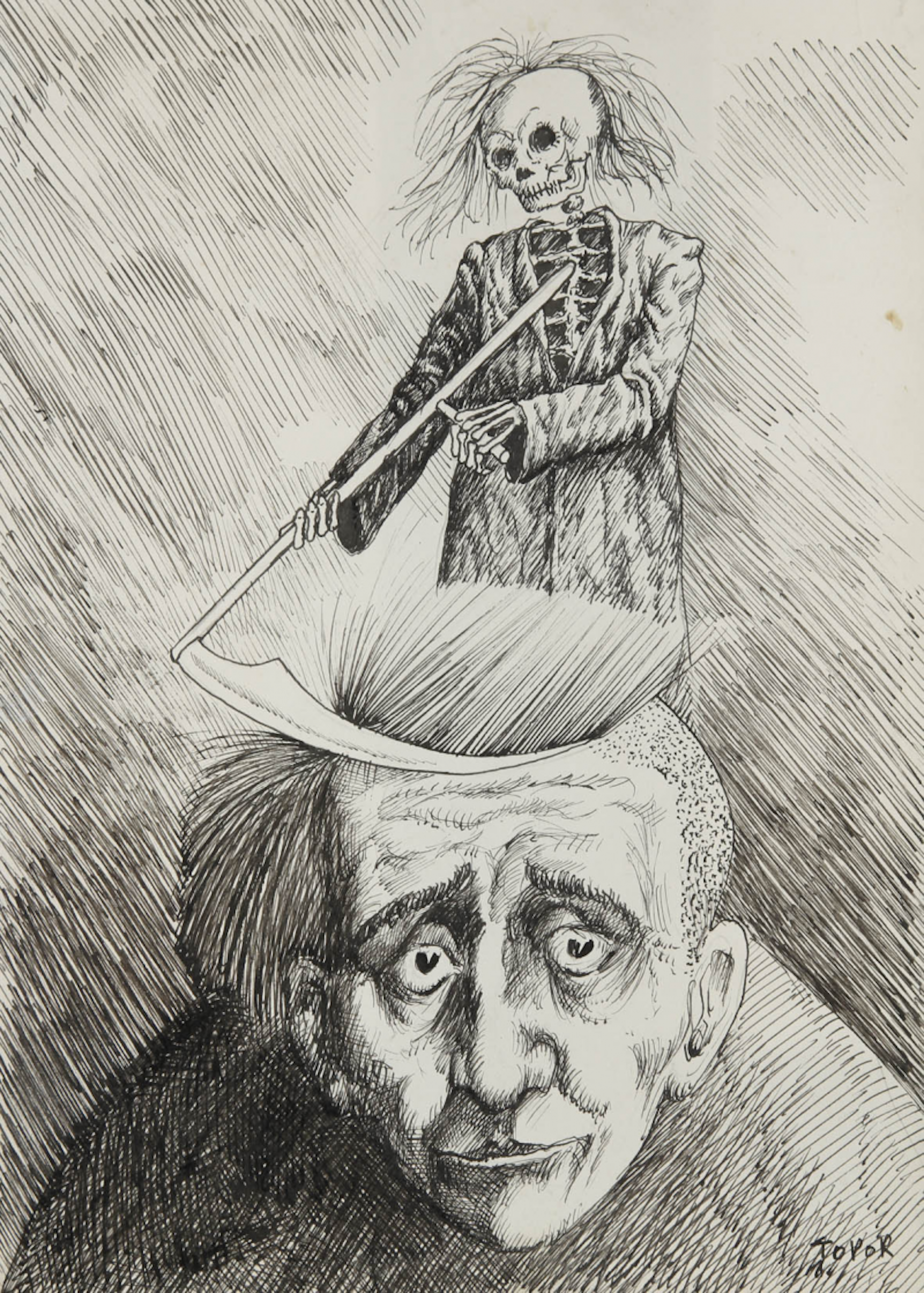 Roland Topor (1938-199, french) Self-portrait with the Grim Reaper